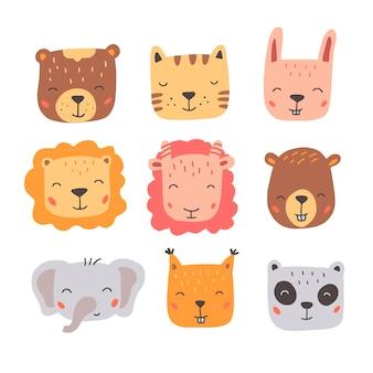 Ensemble de visages d'animaux sauvages mignons. illustration de style dessiné à la main.
