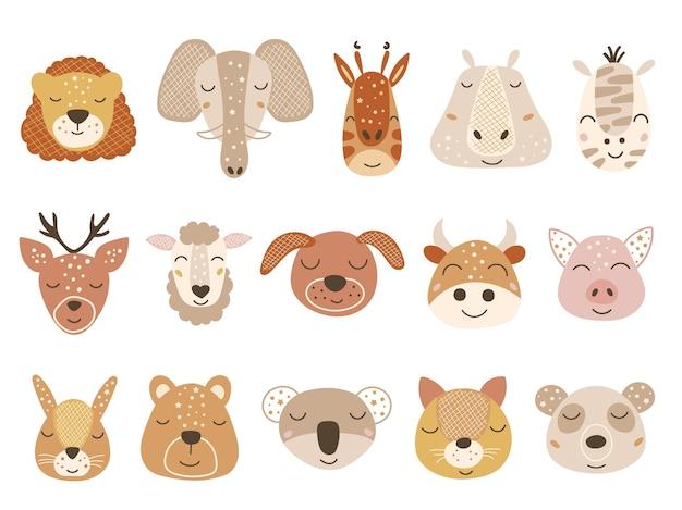 Ensemble de visages de bébés animaux.