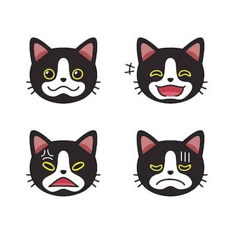 Ensemble de visages de chat noir montrant différentes émotions pour la conception.