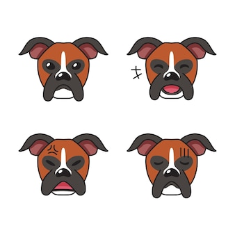 Ensemble de visages de chien boxer de caractère montrant différentes émotions