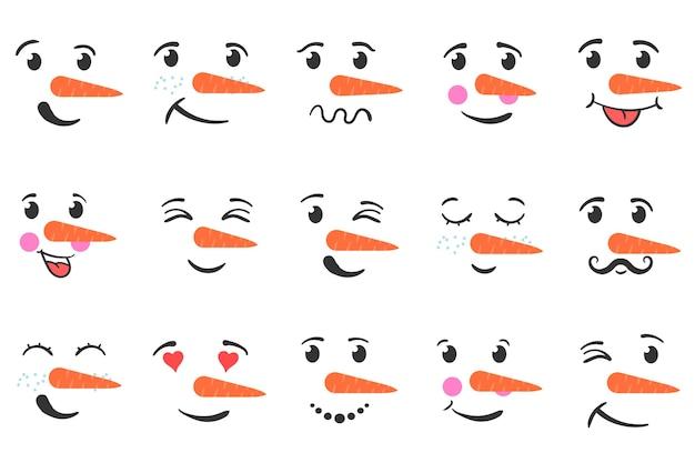 Ensemble de visages drôles de bonhomme de neige isolés sur fond blanc. dessin animé drôle doodle visage de tête de bonhomme de neige avec différentes émotions.