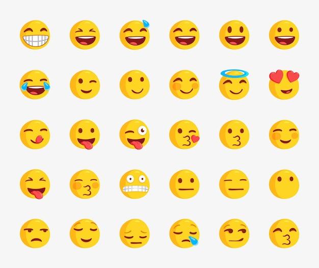 Ensemble de visages emoji populaires pour les réactions sur les réseaux sociaux émoticônes emoji