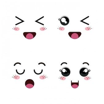Ensemble de visages d'émoticône