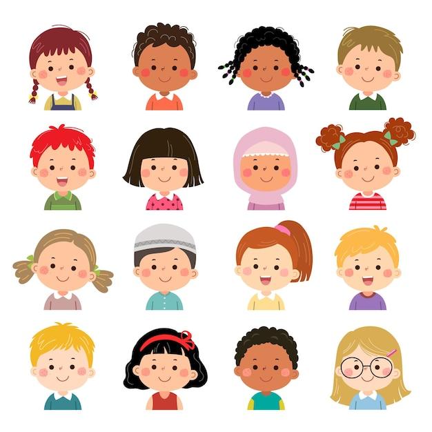 Ensemble de visages d'enfants, d'avatars, de têtes d'enfants de nationalité différente dans un style plat.