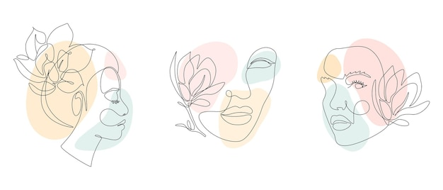 Ensemble de visages de femme et de fleurs dans un style de dessin au trait.