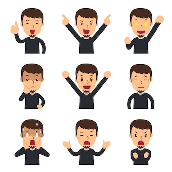 Ensemble de visages d'hommes montrant différentes émotions