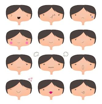 Ensemble de visages mignons, collection d'humeurs différentes. personnage de dessin animé de fille