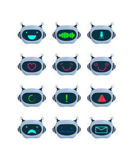 Ensemble de visages de robots
