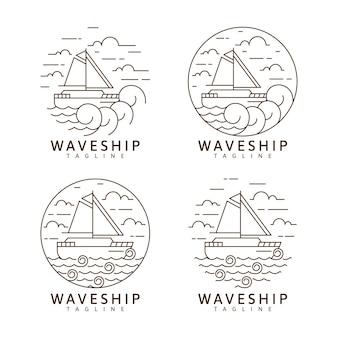 Ensemble de voilier et de vagues illustration monoline ou dessin vectoriel de style art en ligne