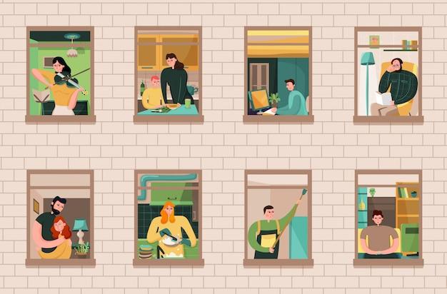 Ensemble de voisins lors de diverses activités dans les fenêtres de la maison sur le mur de briques