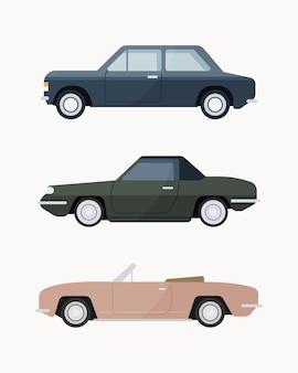 Ensemble de voiture classique. voitures anciennes .