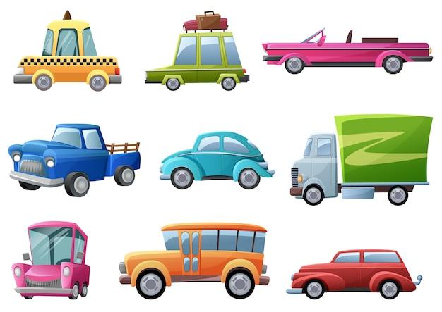 Ensemble de voitures anciennes, vintage et rétro