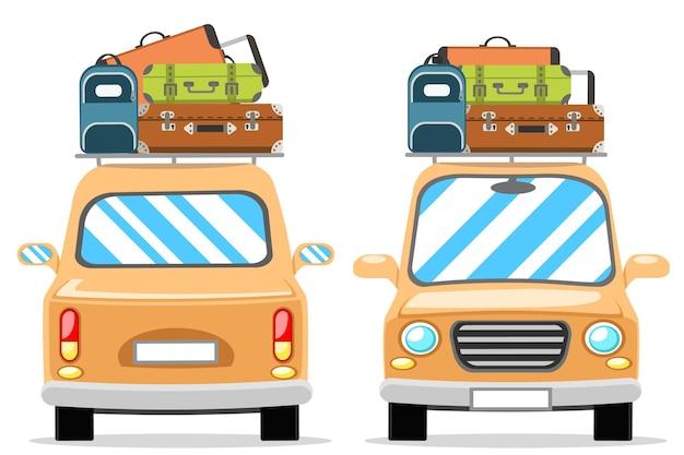 Ensemble de voitures avec bagages sur le toit