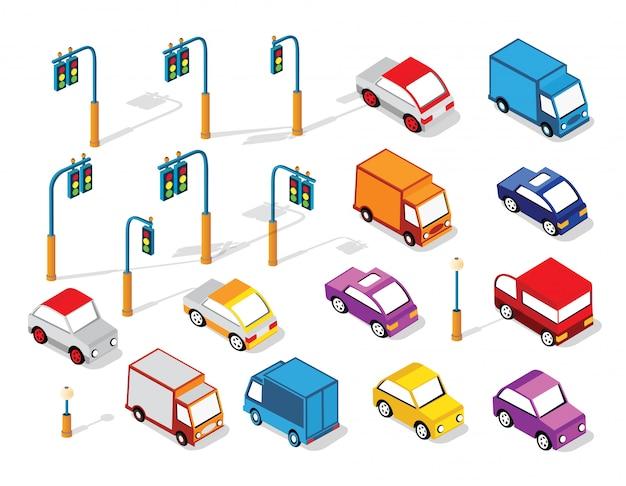 Ensemble de voitures et de camions