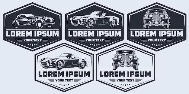 Ensemble de voitures classiques à logo