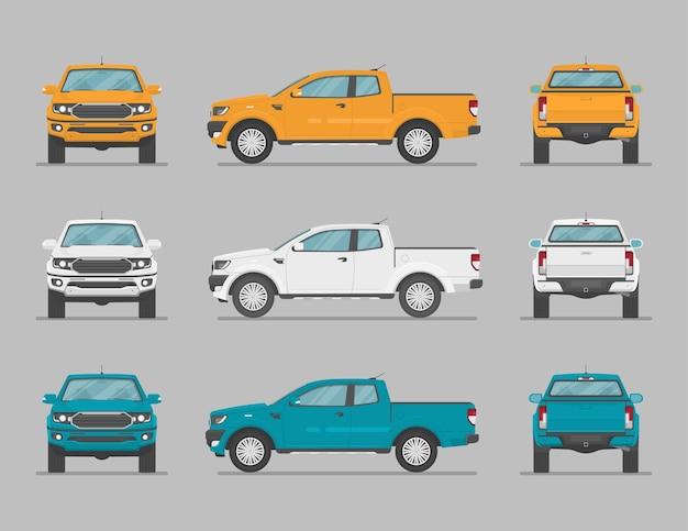Ensemble de voitures dans différents points de vue