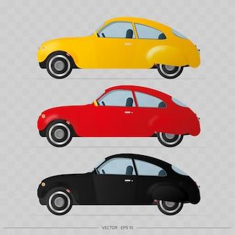 Ensemble de voitures dans le style ancien.