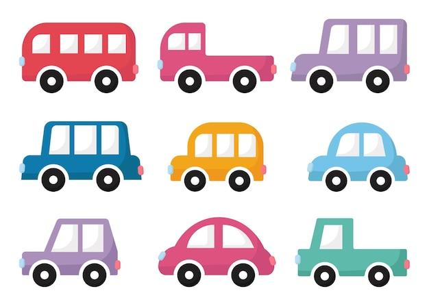 Ensemble de voitures de dessin animé isolées