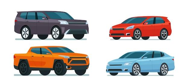 Ensemble de voitures modernes.
