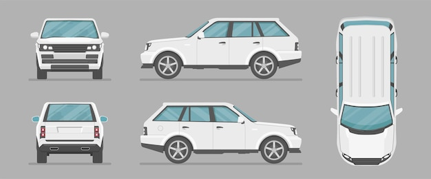 Ensemble de voitures suv dans différents points de vue