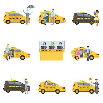 Ensemble de voitures de taxi, de chauffeurs et de clients