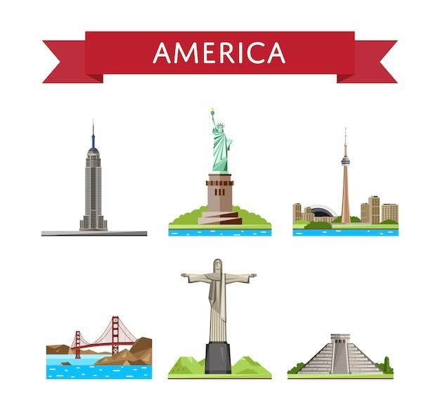Ensemble de voyage américain avec des attractions célèbres