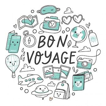 Ensemble de voyage griffonnages dans le style kawaii de dessin animé