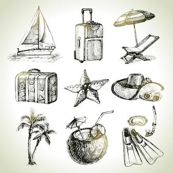 Ensemble de voyage. illustrations dessinées à la main