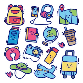 Ensemble de voyage kawaii doodle illustration