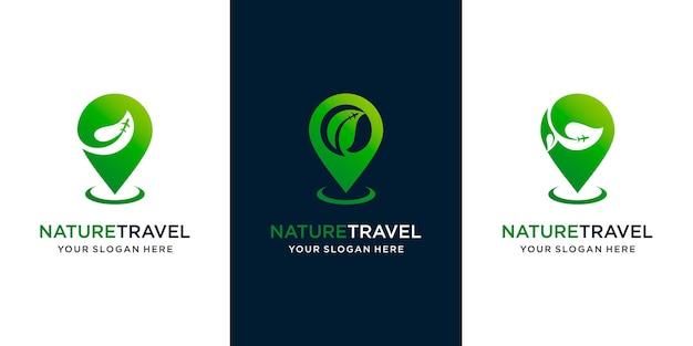 Ensemble de voyage naturel de carte, feuille de combinaison et avion. modèle d'icône de conception de logo vecteur premium