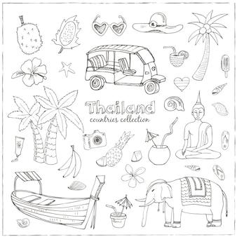 Ensemble de voyage thaïlande doodle dessiné à la main