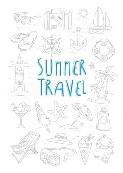 Ensemble de voyage et tourisme d'été dessinés à la main.