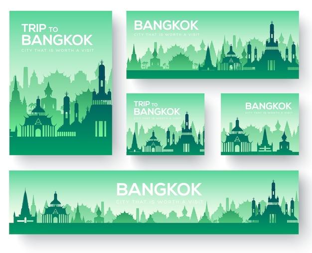 Ensemble de voyage de voyage d'ornement pays paysage de bangkok