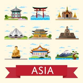 Ensemble de voyages asiatiques avec des attractions célèbres