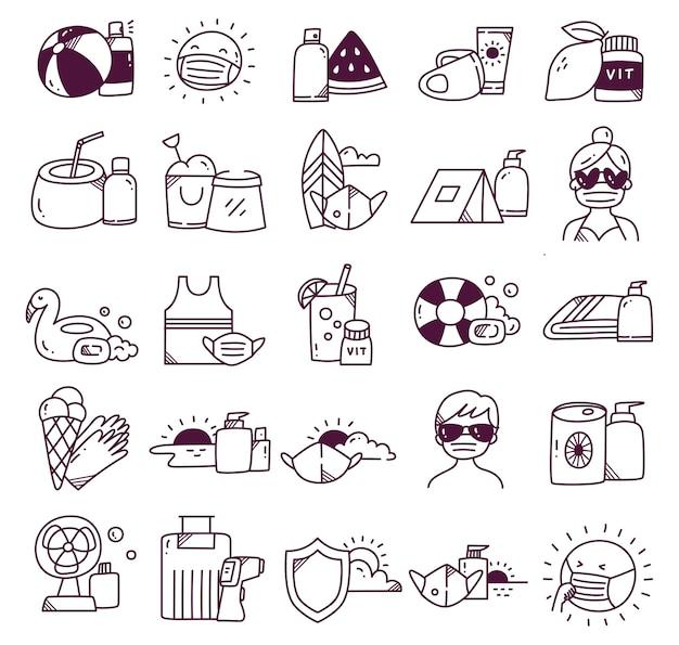 Ensemble de voyages pendant doodle pandémique