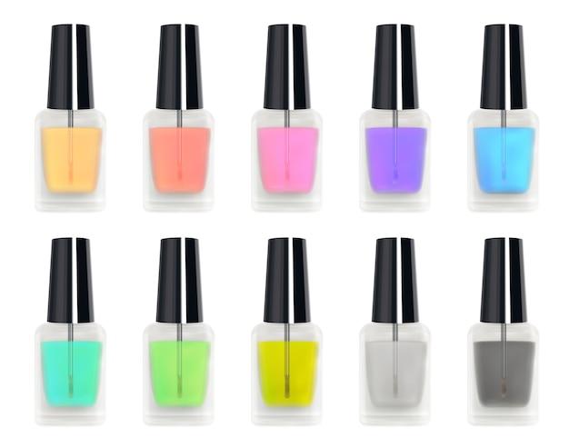 Ensemble d'une vraie bouteille en verre de vernis à ongles coloré 3d