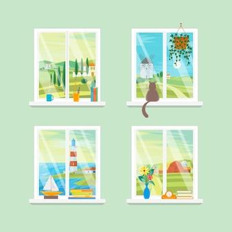 Ensemble de vue différente de windows de dessin animé