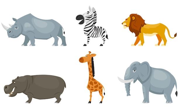 Ensemble de vue latérale des animaux africains. habitants de la faune en style cartoon.
