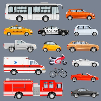 Ensemble de vue latérale de véhicules