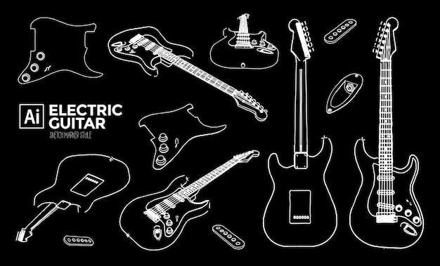 Ensemble de vues de guitare électrique. dessins à effet marqueur. couleur modifiable.