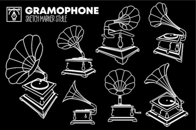 Ensemble de vues isolées de gramophone. dessins d'effet de marqueur.