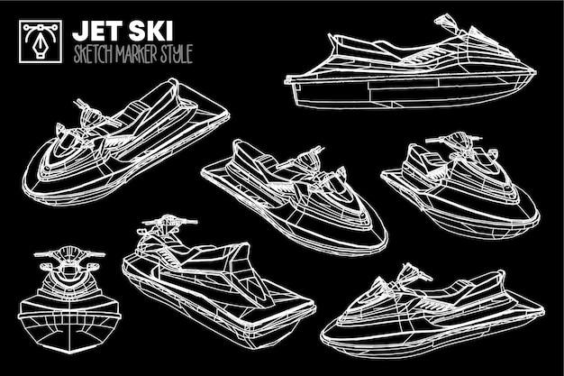 Ensemble de vues isolées de jet ski. dessins d'effet de marqueur. silhouettes colorées modifiables. t-shirts, affiches, flyers, web. premium.