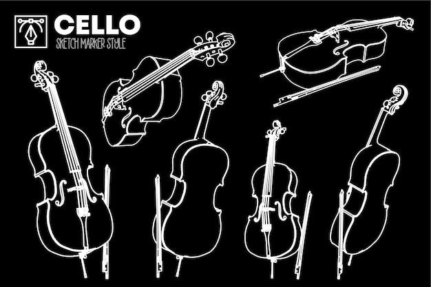 Ensemble de vues isolées de violoncelle. dessins d'effet de marqueur.