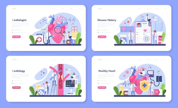 Ensemble web de bannière de cardiologue