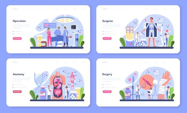 Ensemble web de bannière de chirurgien