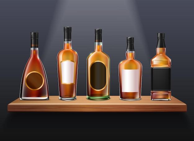 Ensemble de whisky cognac brandy d'illustration de bouteilles en verre réalistes