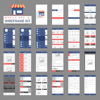 Ensemble de wireframes pour application mobile