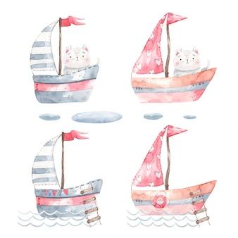 Un ensemble de yachts, bateaux, voiliers avec un chat à l'intérieur, promenades sur les vagues, design pour chambres d'enfants et pour imprimer des invitations, décor, autocollants