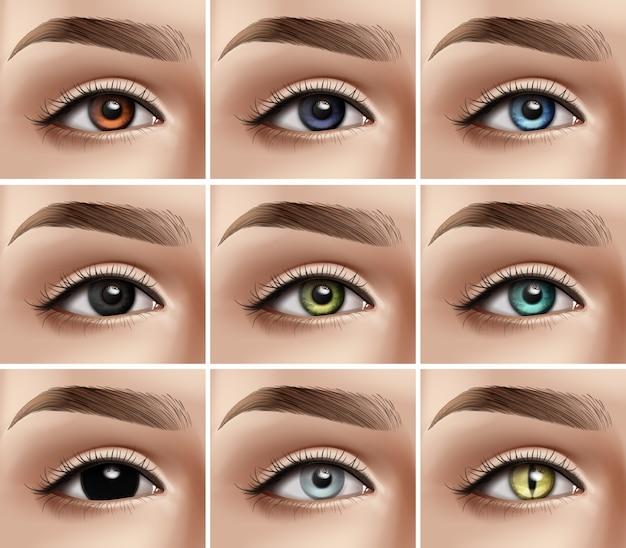 Ensemble d'yeux de femmes réalistes avec différents types de couleurs et lentilles de contact décoratives