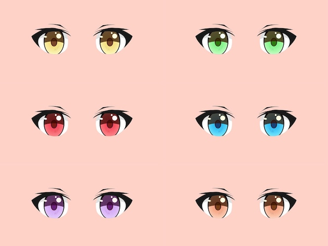 Ensemble d'yeux de manga anime kawaii mignon et cool